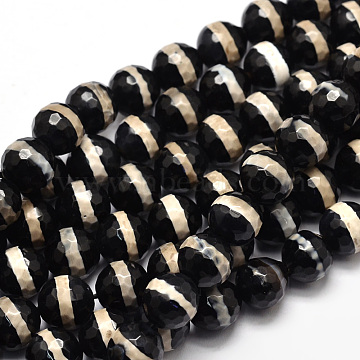10mm Black Round Tibetan Agate Beads