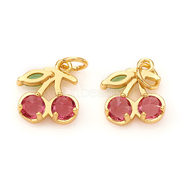 Real 18K Gold Plated Cerise Cherry Brass+Cubic Zirconia Charms