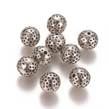 CCB Plastic Beads, Round with Concave Spot, Antique Silver, 10mm, Hole: 1.5mm(CCB-K008-04AS)