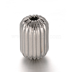 Column 304 Stainless Steel Corrugated Beads, Stainless Steel Color, 12x8mm, Hole: 2mm(STAS-I050-02)