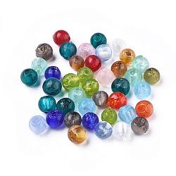 Perles en verre d'argent feuille manuelles, rond, couleur mixte, environ 8 mm de diamètre, Trou: 1.5mm(X-SLR8MMJ-1)