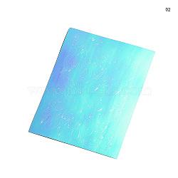 Stickers autocollants laser nail art, auto-adhésif, autocollant, pour les décorations d'ongles, cyan, 8.3x6.2 cm(MRMJ-Q034-053B)