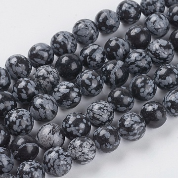 Natural Snowflake Obsidian Beads Strands, Round, 10mm, Hole: 1mm(G-G515-10mm-01)