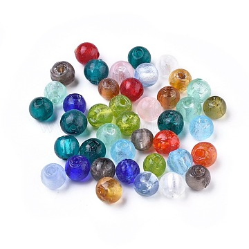 8mm Mixed Color Round Silver Foil Beads