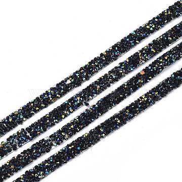 Glitter Resin Hotfix Rhinestone(Hot Melt Adhesive On The Back), Rhinestone Trimming, Crystal Glass Sewing Trim  Rhinestone Tape, Costume Accessories, Black, 10x2mm(DIY-I039-01B-04)