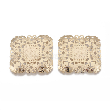 Brass Filigree Joiner Links, Square, Real 18K Gold Plated, 39.5x39.5x2mm(X-KK-Q750-004G)