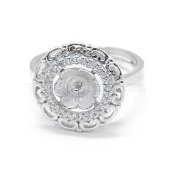 Composants de bague réglables en 925 argent sterling, pour la moitié de perles percées, avec zircons, clair, platine, taille 7, 17 mm; broches: 0.8 mm(STER-L055-033P)