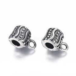Liens de suspension en 304 acier inoxydable, Perles renflouer , Perles avec un grand trou   , colonne, argent antique, 15x9x10mm, trou: 2.5 mm; diamètre intérieur: 4.5 mm(STAS-I120-81AS)