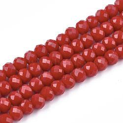"""1 rangée de perles de verre rondelles facettées opaques de couleur foncée opaque, 3x2mm, trou: 0.5mm; environ 140 pcs/chapelet, 13""""(X-EGLA-J047-3x2mm-06)"""