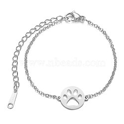 201 Stainless Steel Link Bracelets, with Cable Chains and Lobster Claw Clasps, Flat Round with Dog Paw Prints, Stainless Steel Color, 6-1/8 inches~6-7/8 inches(15.5~17.5cm), 1.5mm(STAS-T040-JN018-1)