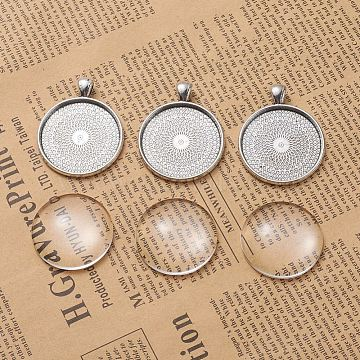 DIY Pendant Making, Tibetan Style Alloy Pendant Cabochon Settings and Transparent Glass Cabochons, Flat Round, Antique Silver, Tray: 30mm, 41.5x33x2mm, Hole: 6x4mm, 29.5~30x7mm, 2pcs/set(DIY-X0098-50AS)