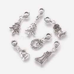 Tibetan Style Alloy European Dangle Beads, Large Hole Pendants, Christmas Style, Antique Silver, 28~39mm, Hole: 4.5mm