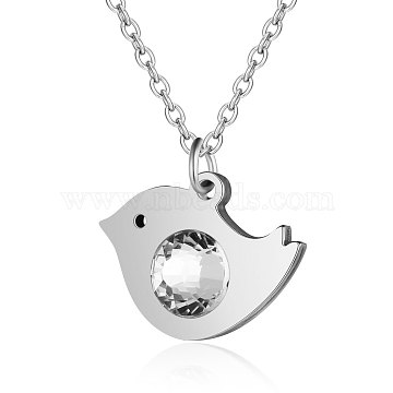 201 Stainless Steel Pendant Necklaces, with Rhinestone and Cable Chains, Bird, Stainless Steel Color, 15.7 inches(40cm); 1.5mm; Bird: 14x19x4mm(NJEW-T009-JN146-40-1)