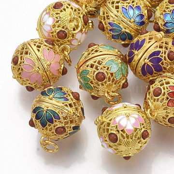 Rack Plating Brass Cage Pendants, For Chime Ball Pendant Necklaces Making, with Enamel and Iron Jump Rings, Hollow Round with Flower, Mixed Color, Golden, 22x18x20.5mm, Hole: 4mm, inner measure: 15.5mm(KK-T053-01G)