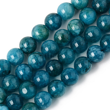 Natural Chalcedony Beads Strands, Dyed & Heated, Imitation Apatite, Round, Teal, 10~10.5mm, Hole: 1.2mm; about 38pcs/strand, 14.96 inches(38cm)(G-R479-10mm-03)