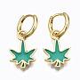 Green Leaf Brass Earrings(EJEW-T014-28G-02-NF)