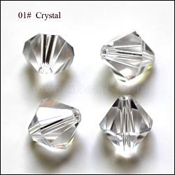 Perles d'imitation cristal autrichien, grade AAA, facette, Toupie, clair, 6x6mm, Trou: 0.7~0.9mm(SWAR-F022-6x6mm-001)