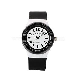 Montres-bracelet à quartz en silicone en acier inoxydable pour enfants de haute qualité 304, noir, 230x25 mm; tête de montre: 48x43x13 mm(WACH-N016-07)