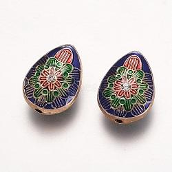 des perles d'émail en alliage, avec strass, goutte d'eau avec fleur, or et de lumière, bleu, 22x16x9.5 mm, trou: 2 mm(ENAM-G153-02G)