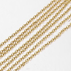 chaînes de câble en laiton, non soudée, ovale, or, environ 2 mm de large, 0.4 mm d'épaisseur(X-CH038-G)