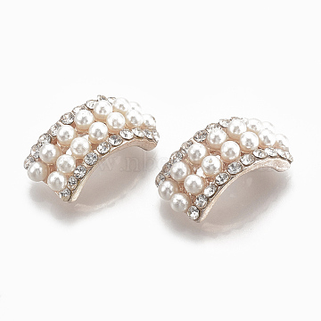 Alloy Findings, with Rhinestone and ABS Plastic Imitation Pearl, Arch, Alloy Findings, with Rhinestone and ABS Plastic Imitation Pearl, Flower, Creamy White, Light Gold, 21x10x8.5mm(PALLOY-S065-07)