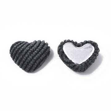 Corduroy Cloth Fabric Covered Cabochons, with Aluminum Bottom, Heart, Teal, 14~15x16~17x6~7mm(X-WOVE-Q079-12A)