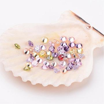Mixed Grade A Diamond Shaped Cubic Zirconia Cabochons, Faceted, 3x2mm(X-ZIRC-M002-3mm)