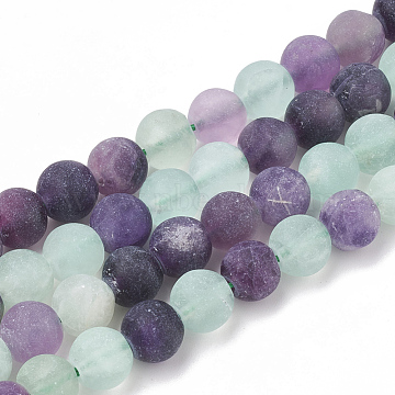 Natural Fluorite Beads Strands, Frosted, Round, 8mm, Hole: 1mm; about 47pcs/strand, 15.5inches(G-T106-181)
