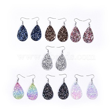 Mixed Color Imitation Leather Earrings