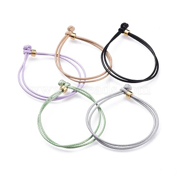 Unisex Korean Waxed Polyester Cord Bracelets, Multi-strand Bracelets, with Brass Beads, Mixed Color, 7-1/8 inches(18cm)(BJEW-JB04597)