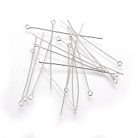 Stainless Steel Eye Pin, Metal Jewelry Fittings, 50x0.6mm, Hole: 2mm