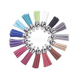 Pompon en daim pendentif décorations, avec des accessoires en plastique CCB, couleur mixte, platine, 38x10mm, trou: 2mm; 2pcs / couleur, 30 pièces / kit(DJEW-JP0001-04B)