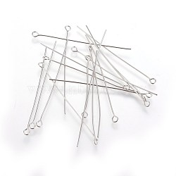100PCS Stainless Steel Eye Pin, Metal Jewelry Fittings, 50x0.6mm, Hole: 2mm