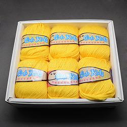 Fils mous pour bébé, cachemire, fibres acryliques et fibres pan, jaune, 2 mm; environ 50 g / rouleau, 6 rouleaux / boîte(YCOR-R020-04)
