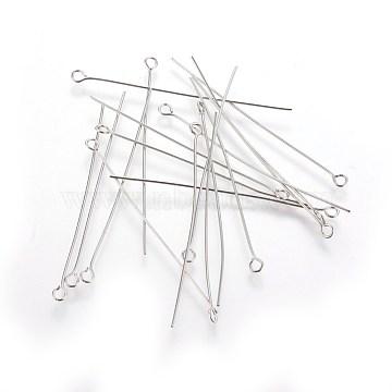 100pcs clou tête boule en acier inoxydable, accessoires de bijoux en métal, 50mm, pin: 0.6 mm, Trou: 2mm(X-STAS-E013-0.6x50mm)