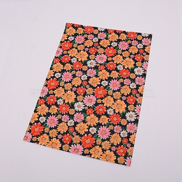 Flower Pattern Imitation Leather Fabric, for DIY Earrings Making, Red, 21x30cm(DIY-WH0183-06F)