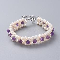 bracelets de perles d'améthyste naturelle, avec des perles de nacre naturelle, 304 fermoirs à griffe de homard en acier inoxydable et boîtes à bijoux en papier kraft, 7-1 / 2 (19 cm)(BJEW-JB04604-04)