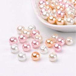À peine mix rose perles perles de verre nacrées, couleur mixte, 8mm, trou: 1 mm; environ 100 PCs / sachet (HY-X006-8mm-01)