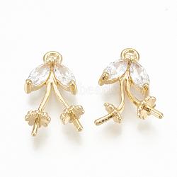 pendentifs en forme de zircon cubique en laiton, pour la moitié de perles percées, feuille, réel 18 k plaqué or, 17x10x4 mm, trou: 1.5 mm; broches: 1 mm(ZIRC-Q014-078G)
