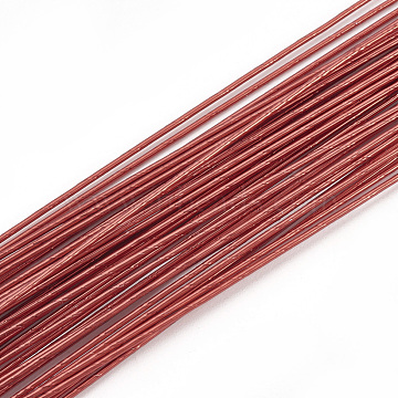 Iron Wire,Floral Wire,for Florist Flower Arrangement,Bouquet Stem Warpping and DIY Craft,FireBrick,22 Gauge,0.6mm,about 1-5/8 inches(40cm)/strand,100strand/bag(MW-S002-03C-0.6mm)
