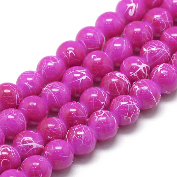 Drawbench Glass Beads Strands, Baking Painted, Dyed, Round, Magenta, 10mm, Hole: 1.5mm; about 85pcs/strand, 31.4 inches(X-DGLA-S115-10mm-L26)