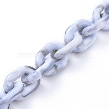 Transparent Acrylic Handmade Cable Chain, Oval, WhiteSmoke, 19x14.5x4mm; 1m/strand(X-AJEW-JB00545-03)