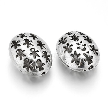 Hollow Oval Tibetan Style Alloy Filigree Beads, Antique Silver, 22x18x12mm, Hole: 2mm(PALLOY-J589-06AS)