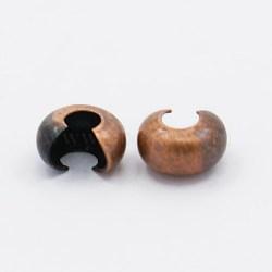 laiton perles à écraser couvre, sans nickel, couleur de cuivre rouge, taille: environ 4 mm de diamètre, trou: 1.5~1.8 mm(X-KK-H290-NFR-NF)