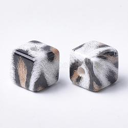 Perles acryliques imprimées, cube, navajo blanc, 15x15x15mm, Trou: 3.5mm(X-MACR-T024-57A)