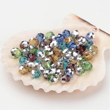 Electroplate Glass Beads, Half Silver Plated, Faceted, Rondelle, Mixed Color, 4x3mm, Hole: 1mm(X-GR4MMY-M1)