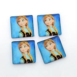 Bande dessinée fille photo verre cabochons carrés, bleu foncé, 10x10x4mm(GGLA-N001-10mm-E09)