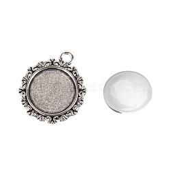Подвесные материалы наборы, с сеттингами кабошон сплава кулон и стекла кабошонов, плоско-круглые, античное серебро, лоток : 18 мм; 30x25x2 мм, отверстия: 3 mm; 17.5~18x5 mm(DIY-X0288-58AS)