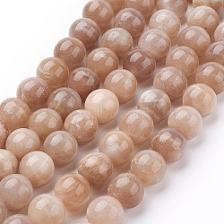 Natural Sunstone Beads Strands, Round, SandyBrown, 10mm, Hole: 1mm