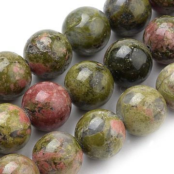 Natural Unakite Beads Strands, Round, 10mm, Hole: 1mm, about 38pcs/strand, 15.7 inches(X-G-S259-14-10mm)